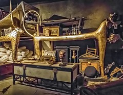 Grave goods of King Tutankhamun as would have been first seen by Howard Carter in 1922  New Kingdom 18th Dynasty 1332-1323 BCE (mharrsch) Tags: gravegoods funerarycouch feline pharaoh king tutankhamun burial tomb funerary 18thdynasty newkingdom egypt 14thcenturybce ancient discoveryofkingtut exhibit newyork mharrsch premierexhibits