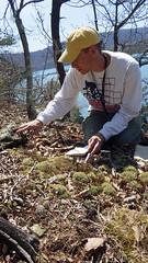 Scott looking at lichens (Pete&NoeWoods) Tags: f16sch02 huntingdoncounty hawnsoverlookbarren shalebarren staff lichensstaffdoingfieldwork staffdoingfieldwork scottschuette