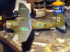 "1:72 AB Förenade Flygverkstäder (AFF) S 13A; aircraft ""12"" of the F 4 Kungliga Jämtlands Flygflottilj's 1st Division; Frösön Air Base, Östersund, Sweden; December 1940 (Whif/modified Matchbox kit) - WiP (dizzyfugu) Tags: 172 whif whatif model kit conversion kitbashing westland lysander p7 aff ab förenade flygverkstäder s13 f4 kungliga jämtland flygflottilj modellbau dizzyfugu sweden fictional aircraft plane frösön air base östersund 1940 recce reconnaissance observation army support weird winter whitewash camouflage white green zinc chromate"