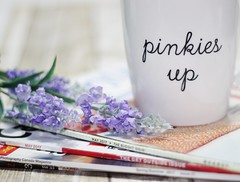 Pinkies Up (kkirby864) Tags: teacup pinkiesup magazines table flowers reading whwednesday stilllife sunday morning