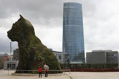 Puppy la mascota del Guggenheim de Bilbao y la torre Iberdrola. (P.H.F.) Tags: mascota de la pinacoteca del guggenheim bilbao torre iberdrola flores museo