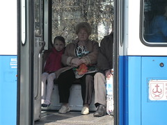 Grandmother and girl in tram (yaroslavborovsky) Tags: people grandmother littlegirl tram vinnitsya ukraine