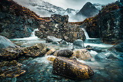 Fairy Pools (Dave Fieldhouse Photography) Tags: isleofskye island scotland highlands march2017 fuji fujifilm fujixt2 mountains cullins blackcuillins waterfall river fairypools glenbrittle rocks water movement rain weather poloriser snow
