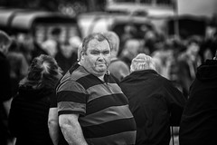Watching me (Frank Fullard) Tags: frankfullard fullard candid street portrait stripes crowd monochrome blackandwhite horse fair irish ireland show tiernaur achill mulranny malarany mayo newport sheepshow stubble beardy hairy