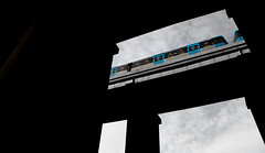 Subway in the sky (fredrik.gattan) Tags: tranebergsbron bridge train subway railroad bw blue sky stockholm sweden