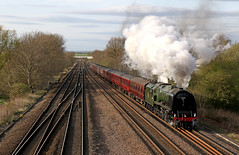 46233 Duchess of Sutherland - New Tupton (Andrew Edkins) Tags: road hagghill image photo photography steam smoke steamlocomotive 46233 duchessofsutherland newtupton derbyshire claycross cathedralsexpress stanier lms steamdreams pacific steamtrain 462 uksteam mainlinesteam midlandmainline england uk trip travel trees canon railwayphotography railtour geotagged coronationclass spring evening april 2017 light exhaust clouds