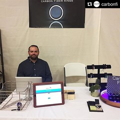 Anyone in the Gilbert, AZ area today stop by @carbonfi and checkout his stand! #Repost @carbonfi ・・・ My first attempt at a booth at @mumsymarket! So fun! So nervous! I even made a glow plate for the rings. I've got @centridesigns book. @jenniferrayjewelry (JenniferRay.com) Tags: instagram carbon fiber jewelry exclusive jrj jennifer ray paracord custom