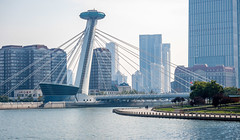 Chingfen Bridge spans across the Haihe River (Victor Wong (sfe-co2)) Tags: architecture asia blue bridge buildings business center china chinese city cityscape commercial design district downtown exterior financial haihe high highrise landmark landscape light modern office old oriental outdoor overlooking river road scene scenery sky skyline skyscraper style tianjin tourism tower travel urban view chingfen railway station