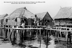 Moro homes built over the water, near Zamboanga, Mindanao, Philippines, early 1900s up to 1938 (J. Tewell) Tags: morohomesmindanao zamboanga oldmindanao oldsouthernphilippines