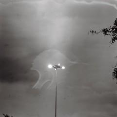 Lamp pole (bdrc) Tags: asdgraphy agfa isolette agnar 85mm film 6x6 square medium format mf classic antique fujifilm neopan 100 acros blackandwhite monochrome rain droplet lamp pole sky evening