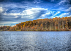 Chamber Lake HDR (Daveyal_photostream) Tags: clouds nature nikon nikor coatesville meandmygear mygearandme mycamerabag motion movement landscape lake lakescape trees cloudy bluesky autumn hdr hdrphotography foliage water river sky forest lakeshore photomatix lightroom ohotoshop shoppedtothemax tree