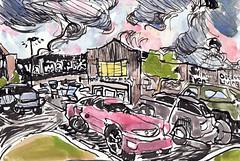 Dragon Clouds Over Walmart (Kerry Niemann) Tags: walmart apachejunction watercolordrawing