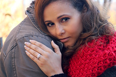 Ring (maglothinemily) Tags: red love fashion scarf outdoors happy photography engagement couple emotion ring local jeweler jewelers northernmichigan
