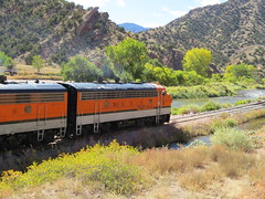 The Royal Gorge Route (Patricia Henschen) Tags: royalgorgeroute royalgorge canoncitycolorado arkansasriver railroad locomotive vistadome denverriogrande usroute50