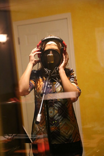 "Janika recording vocals <a style=""margin-left:10px; font-size:0.8em;"" href=""http://www.flickr.com/photos/117397217@N06/15062669564/"" target=""_blank"">@flickr</a>"