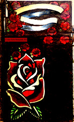Bouquet Unsigned (Steve Taylor (Photography)) Tags: door red newzealand christchurch brown streetart flower art floral leaves rose digital graffiti mural canterbury nz southisland lowkey newbrighton