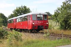 LVT 172 001-0 und 172 601-7 (Steuerwagen) bei der Einfahrt in Klein Grabow, 03.07.2014 (tr_bf_kl_grabow) Tags: mecklenburg lvt rohtho kleingrabow gstrowplauereisenbahn
