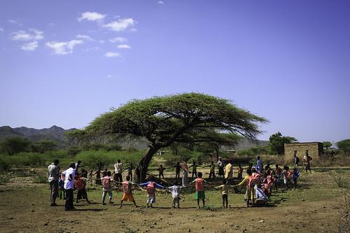 Students gather under the tree near Awash city ABEC (Alternative Base Education Center)