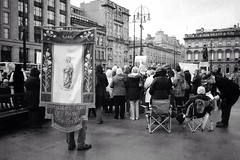 Pray For Us (Leirinmore) Tags: street city bw black church scotland october catholic glasgow sony mary religion crowd congregation photographing immaculateheart nex