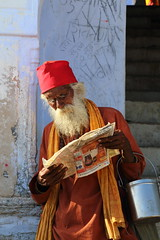 newspaper (durgeshnandini) Tags: india reading newspaper busy rajasthan sadhu canoneos6d colourfuldressevening shakambharimatatemple