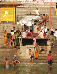 india (gerben more) Tags: shirtless people india men stairs ceremony varanasi ritual washing benares ghat ritualbathing
