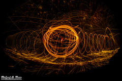 Steel / wire wool spinning (RickDrew) Tags: longexposure orange hot wool canon flying wire time steel spin sigma fisheye burning round spinning heat 7d oxidation sparks 8mm sparking 2000degrees