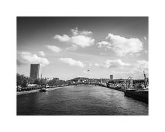 Les deux rives de la Seine (Rouen) (SiouXie's) Tags: bw seine landscape blackwhite fuji noiretblanc rouen normandie paysage normandy quai foire siouxies fujix20