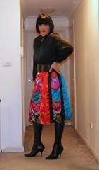 Back In Colour (1) (Furre Ausse) Tags: black colour leather belt boots skirt blouse satin