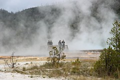 Two In, Two Out, Yellowstone National Park, Wyoming (Geraldine Curtis) Tags: people steam explore yellowstonenationalpark wyoming