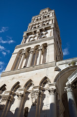 Campanile of the Cathedral of St Domnius, Split, Croatia (Miche & Jon Rousell) Tags: blue sky bar square restaurant cafe croatia split adriatic dalmatia peoplessquare dalmatiancoast narodnitrg