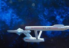 USS Enterprise NCC1701, The Blue Nebula. (ManOfYorkshire) Tags: startrek trek star model space battery illuminated plastic nebula enterprise uss patrol diorama starship ncc1701 1701
