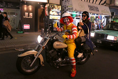 Halloween in Shibuya (Hana Samurai) Tags: street party urban halloween bike japan ronald tokyo costume ride outdoor shibuya harley   passenger  mcdonald