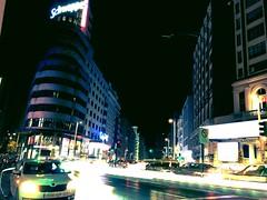 Madrid night (MarcosNR.) Tags: madrid street city night buildings landscape lights hotel cosmopolitan spain place metro crystal horizon towers precious beatiful atocha granvia colourfull