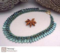 Ninnisig (mbush1us) Tags: original woodland necklace handmade oneofakind celtic elegant collar boho handstitched artisan beadwork elvish strung artjewelry forestgreen beadweaving mbush michellebush