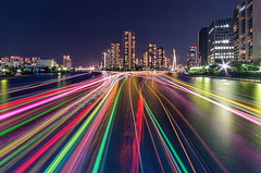 Rainbows on The Water (45tmr) Tags: city longexposure nightphotography japan night landscape tokyo cityscape nightscape pentax 東京 lighttrails 夜景 sumidagawa k5 隅田川 光跡 pentaxk5
