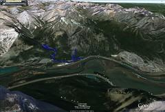 Grotto Canyon Area Google Earth Image (benlarhome) Tags: canada trekking trek kananaskis hiking hike alberta wandern exshaw grottocanyon grottomountain grottocreek grottopond anklebiterridge