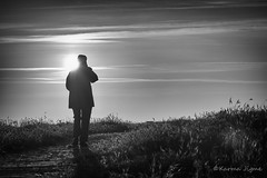 Lonely (karmajigme) Tags: sunset blackandwhite monochrome nikon alone noiretblanc lonely loner