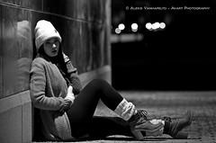 Jasmine (AV art) Tags: blackandwhite bw monochrome mustavalkoinen mustavalko mustavalkokuva greyscale christmas xmas city urban street photography fashion evening tampere finland model young girl woman joulu kaupunki urbaani katuvalokuvaus muoti ilta suomi malli nuori nainen naismalli tyttö