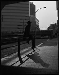 Projection (kageaki.s) Tags: street shadow film bnw blackandwhite kodak mediumformat 120film 400tx pentax67 tokyo shinjuku japan portrait light
