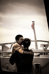 Happy Together (mehdimoi) Tags: petitprince memorise souvenir enfance passé smille bnw joie wongkarway drapeau flag boat usa jaune love mother children kid yellow canada