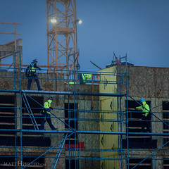 Men at work (matthucke) Tags: workers constructionworkers construction seattle scaffold morning predawn early
