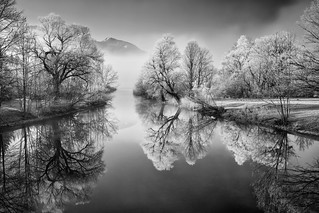 A misty winter morning at river Loisach (B&W)