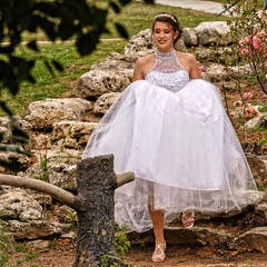 Here She Comes! (brev99) Tags: topazdetail topazdenoise colorefex nikdfine nikoutputsharpener dxofilmpack5 bride woodwardpark steps stones candid portrait tamron180f35 d610 spring park whitedress bridalgown