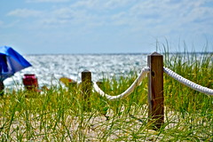 beach  fence (lifecatcher2010) Tags: dsc6299 fence rope sand beach grass water umbrellas wood
