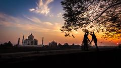Love - Agra, India (Kartik Kumar S) Tags: tajmahal taj agra uttarpradesh mehtab bagh sunrise clouds colors borders fences canon 600d tokina 1116mm sunset people architecture monument