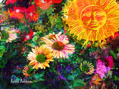 Warm Sun (brillianthues) Tags: flowers floral garden sun warm colorful collage photography photmanuplation photoshop