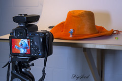 Making of Orange and Blue. (Digifred.) Tags: macromondays orangeandblue digifred 2016 pentaxk5 makingof oranje orange blauw bleu smurf toy small indoor tiny cute macro