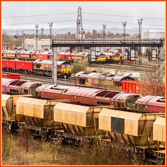 Opposite directions, same destination (Nodding Pig) Tags: toton nottinghamshire railway train england greatbritain uk 2017 class66 dieselelectric locomotive generalmotors emd class60 erewashvalley yard shed depot 201703215777101crop