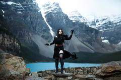 Yennefer (Lichon photography) Tags: banff yennefer witcher witch witchcraft moraine lake canada canadian mountain landscpe nature landscape costume cosplay cosplayer cosplays surreal crow dress
