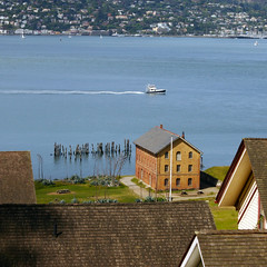 Boat Seen from the Rooftops (Terryryan1) Tags: boat angelisland california sausalito bay warehouse pilings roofs rooftops water